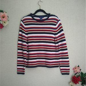 VTG Crewneck Striped Cotton Pullover Sweater L